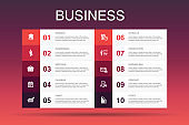 Business Infographic 10 option template.businessman, briefcase, calendar, chart  simple icons
