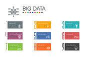 Big data Infographic 10 option line concept. Database, Artificial intelligence, User behavior, Data center simple icons