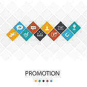 Promotion, trendy UI template infographics concept. advertising, sales, lead conversion, attract icons