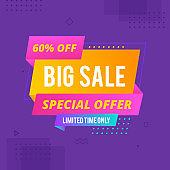 Sale banner template design, Big sale special offer. End of season special offer banner. origami concept banner