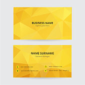 Yellow geometric business card, modern design