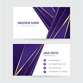 Purple and gold geometric business card