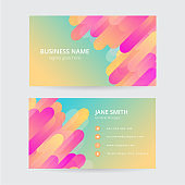retro colorful business card, modern design