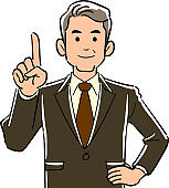 Upper body of manager business man explaining with index finger up