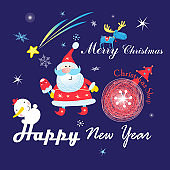 Festive Christmas card with Santa Claus on a dark background with snowflakes.