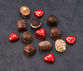 Various chocolate candies, top view