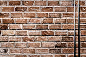brick wall with cable steel pipe old grunge texture industrial background