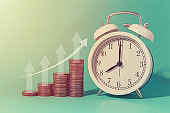 Money coins growing income with Times clock business objects.
