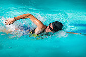 Recreational Front Crawl Swimming in The Pool.