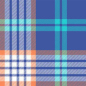 Plaid pattern seamless vector background. Colorful tartan check plaid texture in bright blue, soft orange, light turquoise, and white for modern fabric design. Striped texture.