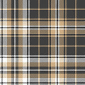 Plaid pattern background. Seamless woven pixel check plaid graphic in dark grey, beige, and white for flannel shirt, blanket, throw, upholstery, duvet cover, or other modern textile design.