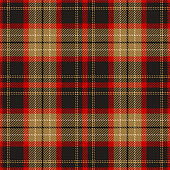 Tartan plaid pattern. Seamless dark multicolored check plaid in luxury gold, grey, and red for flannel shirt, poncho, blanket, throw, or other modern textile design. Stitched effect.