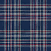 Plaid pattern background. Seamless striped check plaid graphic in dark blue, bordo red, and grey for flannel shirt, blanket, throw, upholstery, duvet cover, or other modern fabric design.