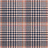 Glen plaid pattern seamless vector background. Tweed check plaid in dark blue, coral brown, and beige for jacket, coat, skirt, dress, trousers, or other modern textile design.