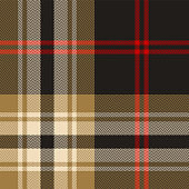 Dark plaid pattern. Seamless multicolored tartan check plaid in grey, red, and luxury gold for flannel shirt, poncho, blanket, or other modern textile design. Herringbone woven pixel texture.