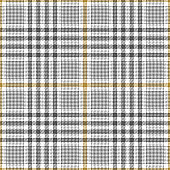 Seamless glen plaid pattern. Tweed check plaid in grey, gold, and white for skirt, jacket, coat, trousers, or other modern textile print.