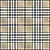Seamless glen check plaid pattern in grey, beige, and white. Tweed plaid for jacket, coat, skirt, trousers, or other modern fashion clothing design.