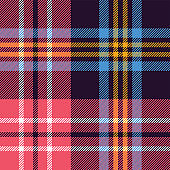 Tartan plaid pattern background. Seamless colorful check plaid graphic in dark purple, bright pink, blue, yellow, and white for flannel shirt, blanket, or other modern fabric design.