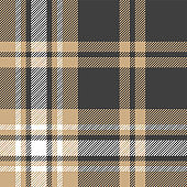 Tartan plaid pattern background. Seamless check plaid graphic in dark grey, beige, and white for flannel shirt, blanket, throw, upholstery, duvet cover, or other modern fabric design.