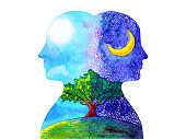 human head chakra powerful inspiration day and night tree abstract thinking watercolor painting illustration hand drawn
