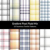 Pixel plaid pattern set. Seamless tartan check plaid for modern textile design in gradient purple, yellow, orange, blue, pink, green, beige, and grey. 10 patterns in set. Swatches included.