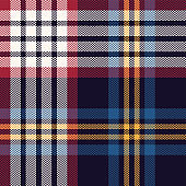 Tartan plaid pattern background vector. Seamless herringbone multicolored dark check plaid graphic in blue, red, yellow, and off white for blanket or other modern textile design.