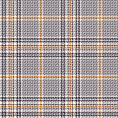 Glen pattern. Traditional seamless hounds tooth check plaid background in taupe purple, orange, and white for coat, skirt, trousers, jacket, or other modern fashion fabric print.