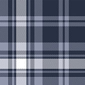 Blue plaid pattern seamless vector background. Herringbone tartan check plaid woven pixel texture for scarf, poncho, blanket, flannel shirt, or other modern fabric design.