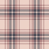 Plaid pattern vector background. Seamless tartan check plaid in grey and pink for flannel shirt, poncho, scarf, blanket, or other modern textile design. Herringbone woven pixel texture.