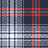 Seamless tartan plaid pattern vector background in dark blue, purple, red, and white. Herringbone check plaid texture for flannel shirt, scarf, blanket, or other modern textile design.