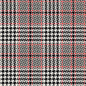Glen plaid pattern. Classic seamless hounds tooth check plaid texture in black, red, and off white for trousers, coat, skirt, jacket, or other modern fashion clothes print.