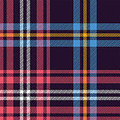 Tartan plaid pattern background. Seamless multicolored check plaid graphic in dark purple, blue, pink, yellow, and white for flannel shirt, blanket, throw, or other modern fabric design.