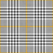 Glen plaid pattern vector background. Seamless tweed check plaid in brown, yellow, and white for jacket, skirt, coat, trousers, or other modern fashion textile design.