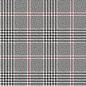Glen plaid pattern. Classic seamless hounds tooth check plaid texture in grey, off white, and pink for trousers, coat, skirt, jacket, or other modern autumn or winter fashion clothes print.