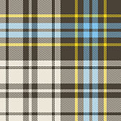 Tartan pattern. Seamless check plaid in brown, blue, yellow, and beige for flannel shirt, poncho, blanket, or other modern everyday fashion or home textile design. Herringbone woven pixel texture.