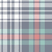 Tartan plaid pattern background. Seamless herringbone check plaid graphic in grey, coral, green, and white for flannel shirt, blanket, throw, upholstery, or other modern fabric design.