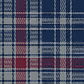 Tartan plaid pattern background. Seamless dark herringbone check plaid graphic in blue, red, and grey for flannel shirt, blanket, throw, upholstery, duvet cover, or other modern fabric design.