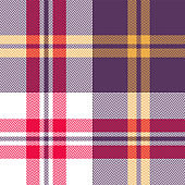 Halloween plaid pattern vector background. Seamless bright multicolored tartan check plaid in purple, red, yellow, and white for modern textile design. Herringbone woven pixel texture.