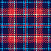 Seamless tartan pattern. Scottish multicolored  dark check plaid in blue, red, and beige for flannel shirt, blanket, skirt, or other modern fashion or home textile design.