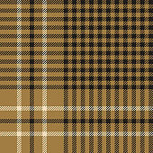 Seamless glen plaid pattern. Hounds tooth check plaid tartan background texture in gold and nearly black for trousers or other modern autumn or winter tweed textile design.
