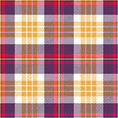 Halloween check pattern. Bright festive tartan plaid in purple, yellow, red, and white for flannel shirt, bag, skirt, jacket, or other modern textile design. Striped texture.
