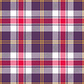 Halloween tartan plaid pattern. Seamless bright multicolored check plaid in purple, red, yellow, and white for flannel shirt, bag, blanket, or other modern textile design.
