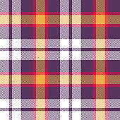 Halloween tartan check plaid pattern vector background. Seamless colorful herringbone woven pixel texture for flannel shirt, skirt, blanket, throw, or other modern festive design.