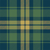 Tartan plaid pattern background. Seamless dark check plaid graphic in blue, green, and gold for flannel shirt, blanket, throw, upholstery, duvet cover, or other modern fabric design.