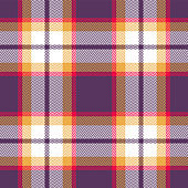 Halloween check plaid pattern vector background. Seamless bright colorful herringbone tartan check plaid in purple, red, yellow, and white for flannel shirt, blanket, or other textile design.