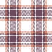 Plaid pattern vector background. Seamless tartan check plaid in purple, copper orange, and white for poncho, scarf, flannel shirt, blanket, or other modern fashion textile design.