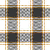 Plaid pattern seamless vector. Tartan check plaid background in dark brown, gold, and white for modern textile design. Gingham / vichy / buffalo check style. Herringbone pixel texture.
