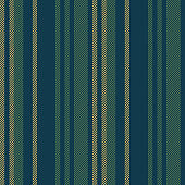 Seamless stripes pattern. Blue, green, and gold fashion fabric texture with textured vertical stripes for winter menswear pyjamas, trousers, loungewear, upholstery, or other designs.