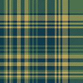 Tartan plaid pattern background. Seamless striped check plaid graphic in dark blue, green, and gold for scarf, flannel shirt, blanket, throw, upholstery, or other fabric design.