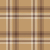 Brown plaid pattern seamless vector background. Scottish tartan check plaid texture in brown, sand, and white for flannel shirt or other modern textile design.